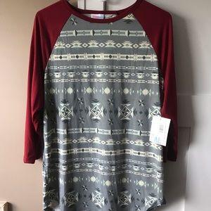 LuLaRoe XL Randy Burgundy/Grey Aztec